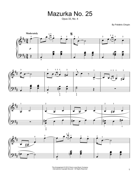 Mazurka  Op. 33, No. 4