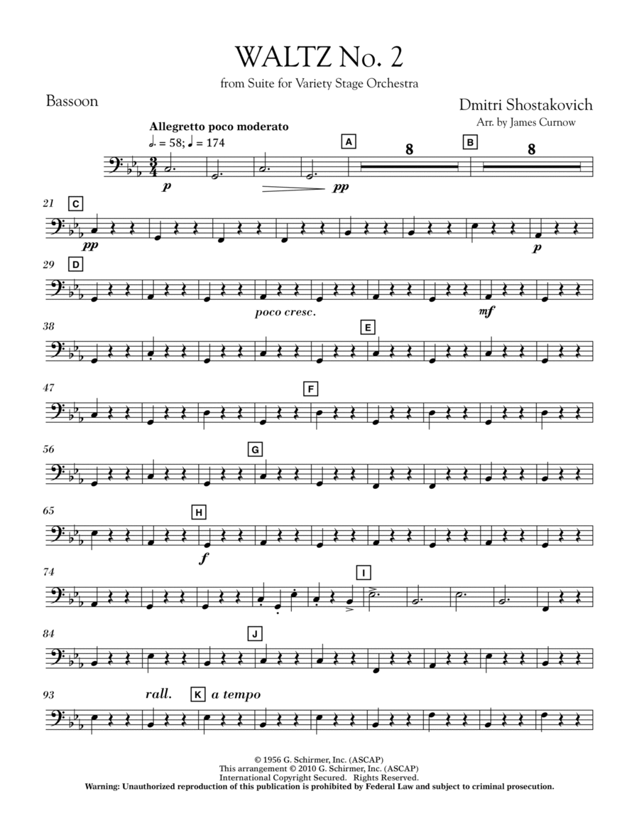 Waltz No. 2 (from Suite For Variety Stage Orchestra) - Bassoon