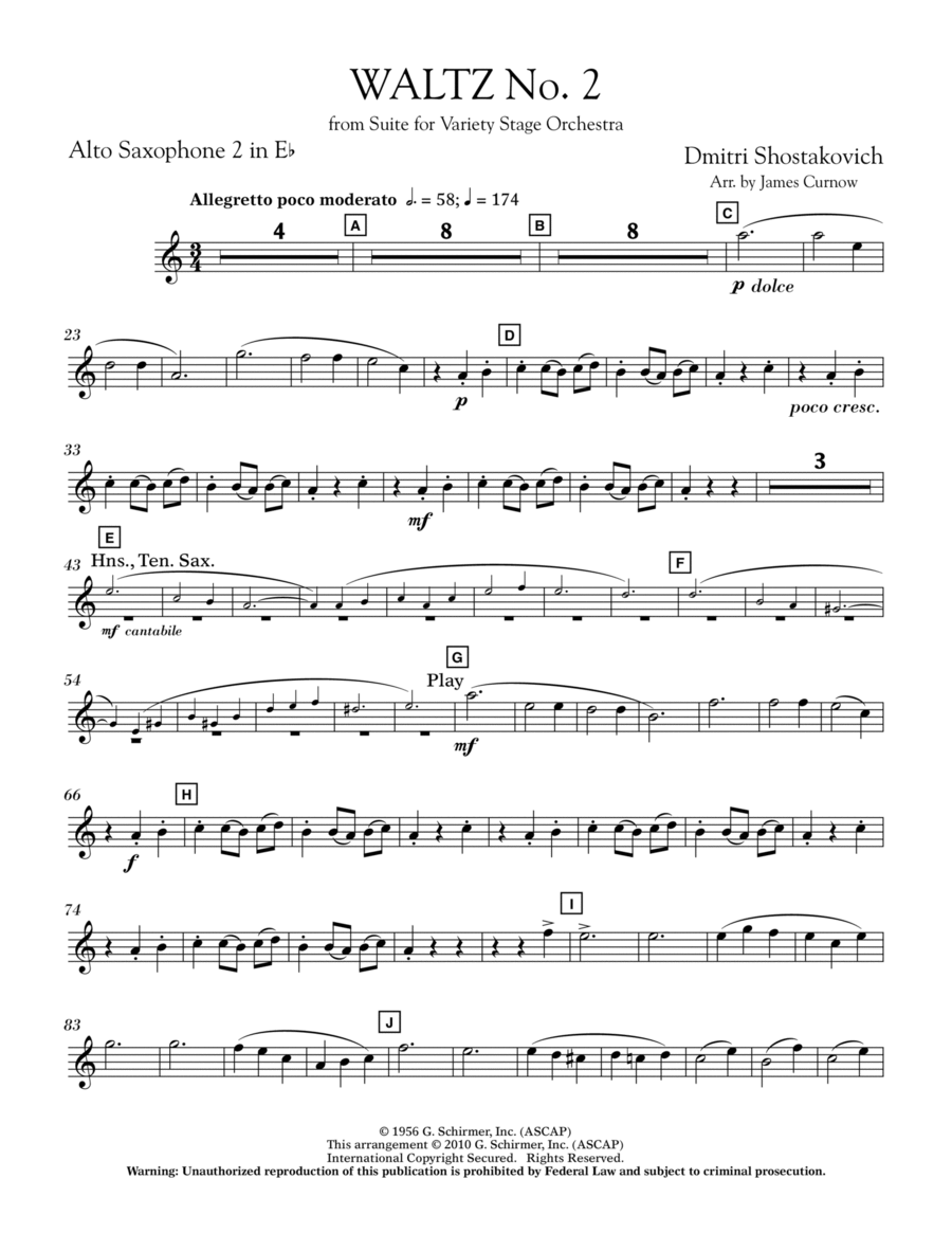 Waltz No. 2 (from Suite For Variety Stage Orchestra) - Eb Alto Saxophone 2