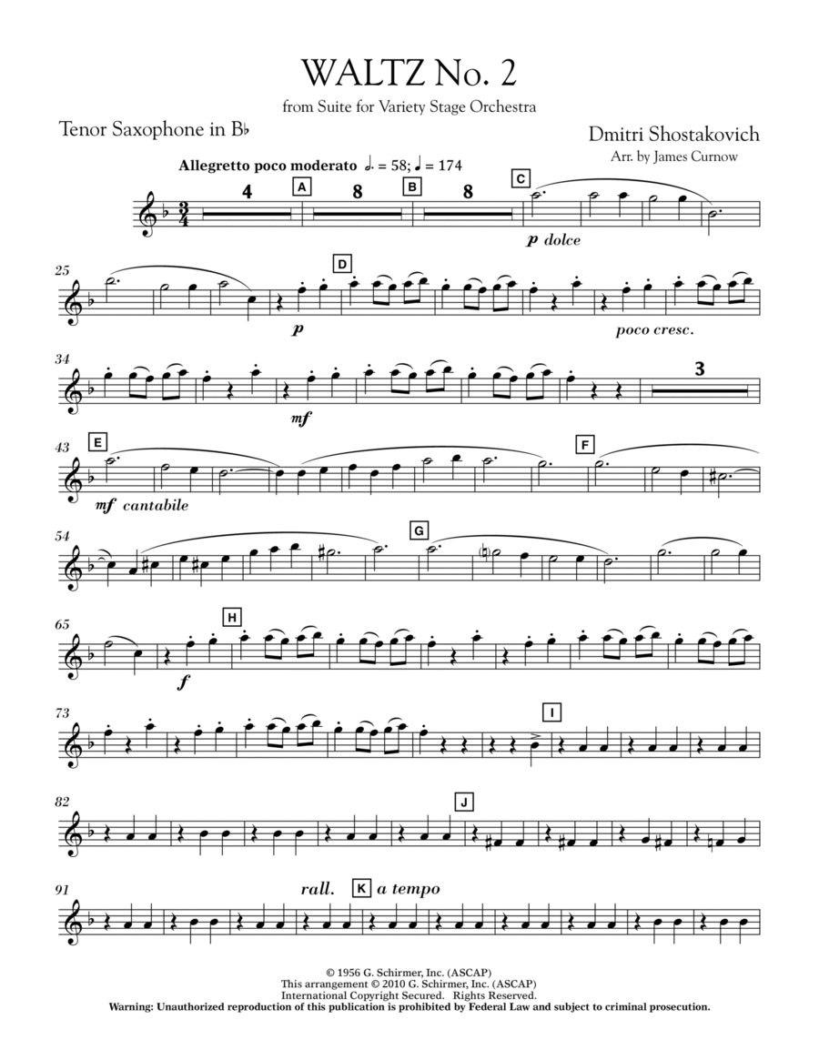 Waltz No. 2 (from Suite For Variety Stage Orchestra) - Bb Tenor Saxophone