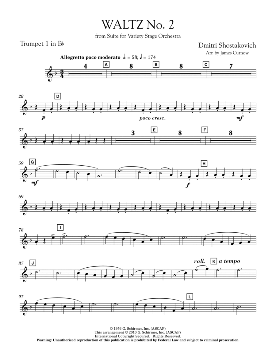 Waltz No. 2 (from Suite For Variety Stage Orchestra) - Bb Trumpet 1