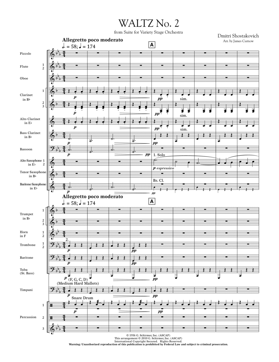 Waltz No. 2 (from Suite For Variety Stage Orchestra) - Full Score