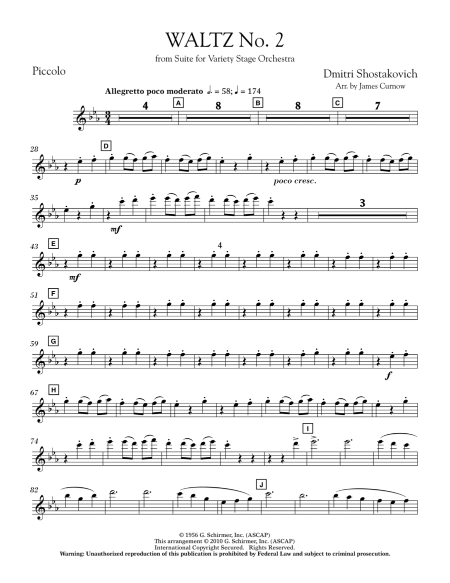 Waltz No. 2 (from Suite For Variety Stage Orchestra) - Piccolo