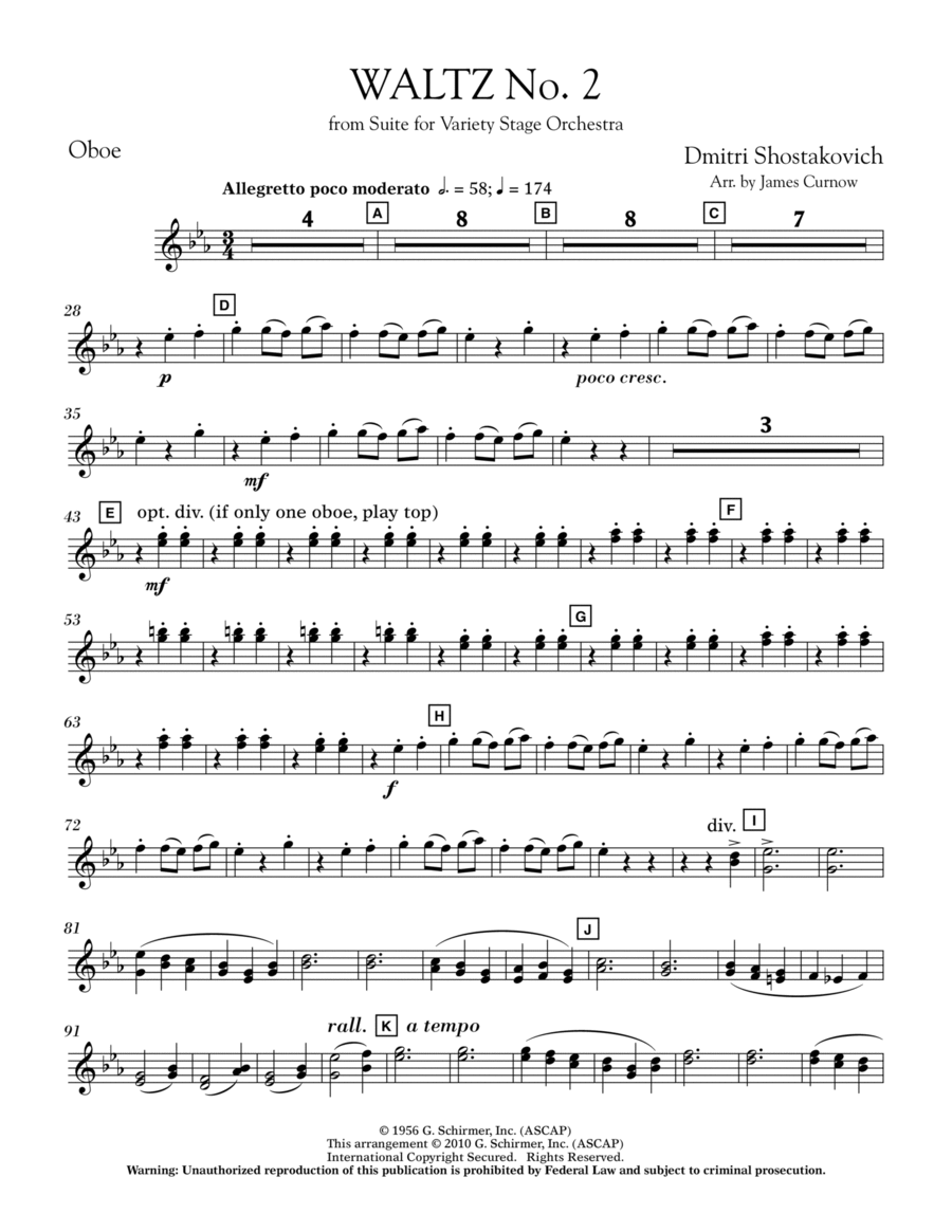 Waltz No. 2 (from Suite For Variety Stage Orchestra) - Oboe