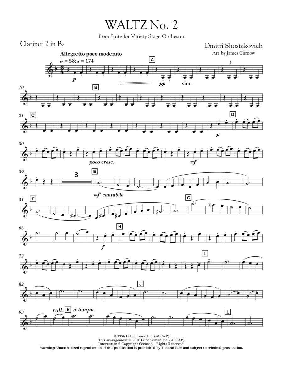 Waltz No. 2 (from Suite For Variety Stage Orchestra) - Bb Clarinet 2