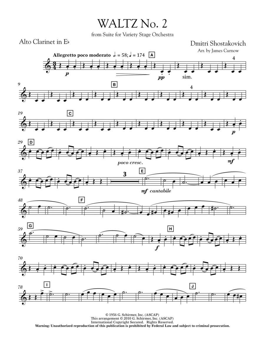 Waltz No. 2 (from Suite For Variety Stage Orchestra) - Eb Alto Clarinet
