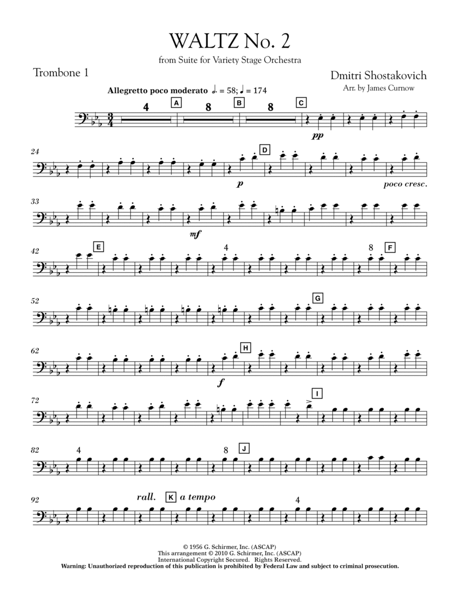 Waltz No. 2 (from Suite For Variety Stage Orchestra) - Trombone 1