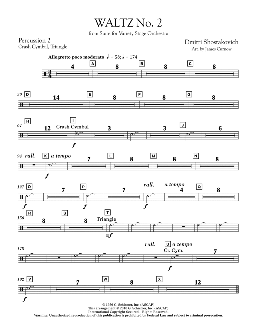Waltz No. 2 (from Suite For Variety Stage Orchestra) - Percussion 2