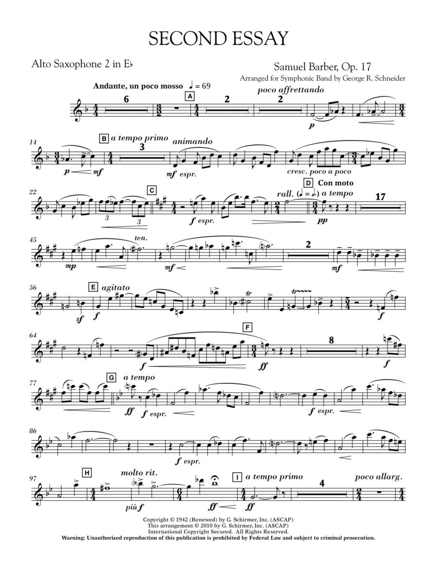 Second Essay - Eb Alto Saxophone 2
