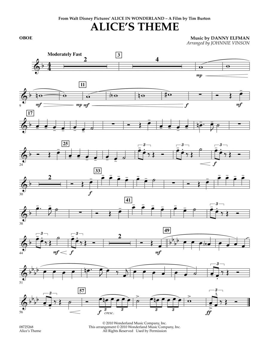 Alice's Theme (from Alice In Wonderland) - Oboe
