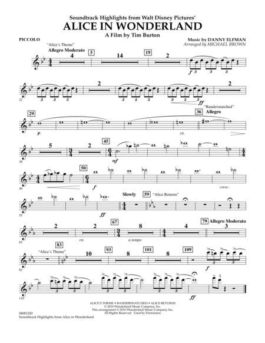 Alice In Wonderland, Soundtrack Highlights - Piccolo