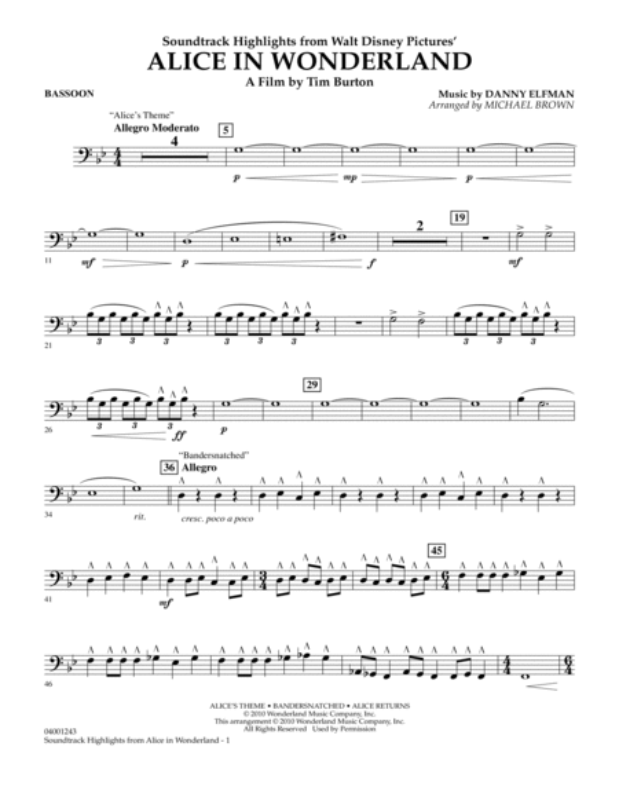 Alice In Wonderland, Soundtrack Highlights - Bassoon