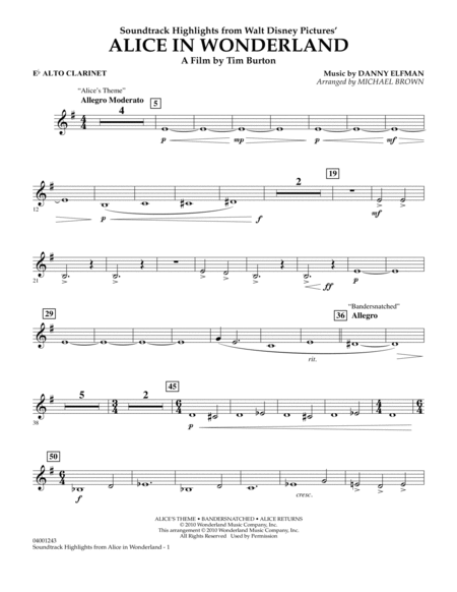 Alice In Wonderland, Soundtrack Highlights - Eb Alto Clarinet
