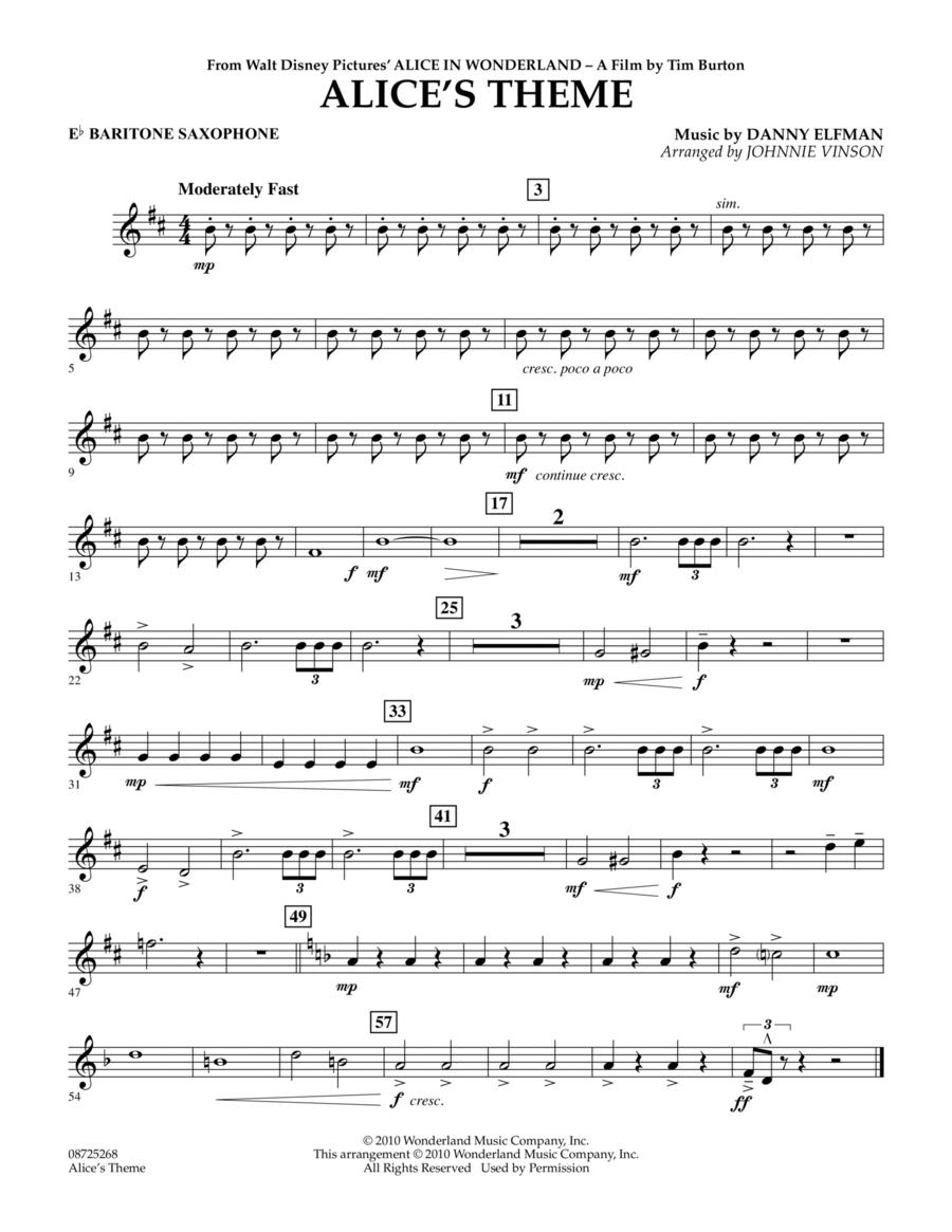 Alice's Theme (from Alice In Wonderland) - Eb Baritone Saxophone