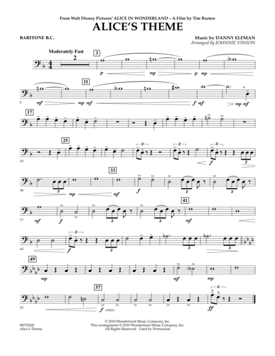 Alice's Theme (from Alice In Wonderland) - Baritone B.C.