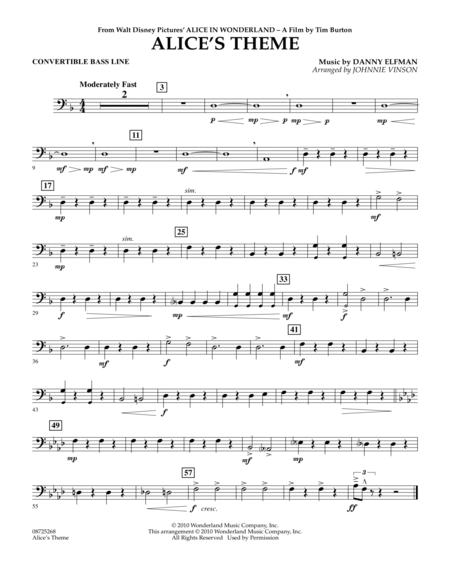 Alice's Theme (from Alice In Wonderland) - Convertible Bass Line