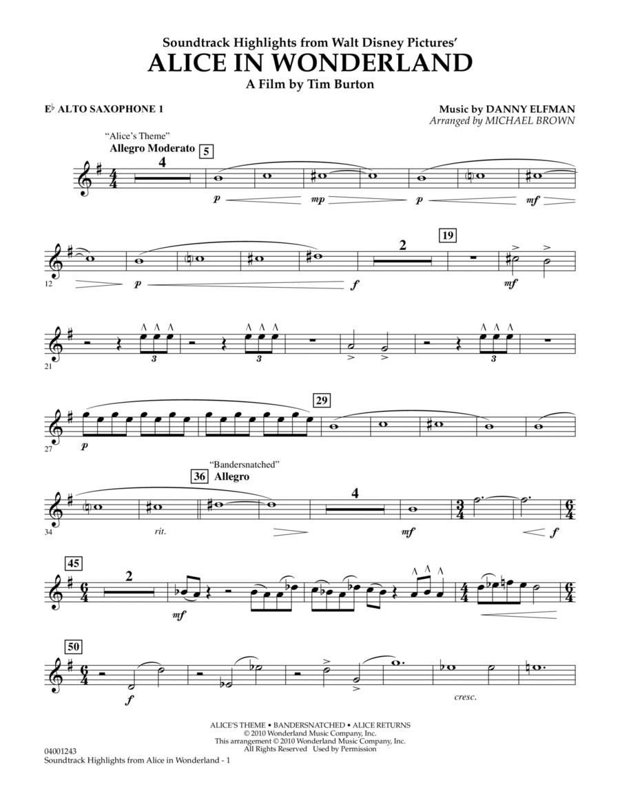 Alice In Wonderland, Soundtrack Highlights - Eb Alto Saxophone 1