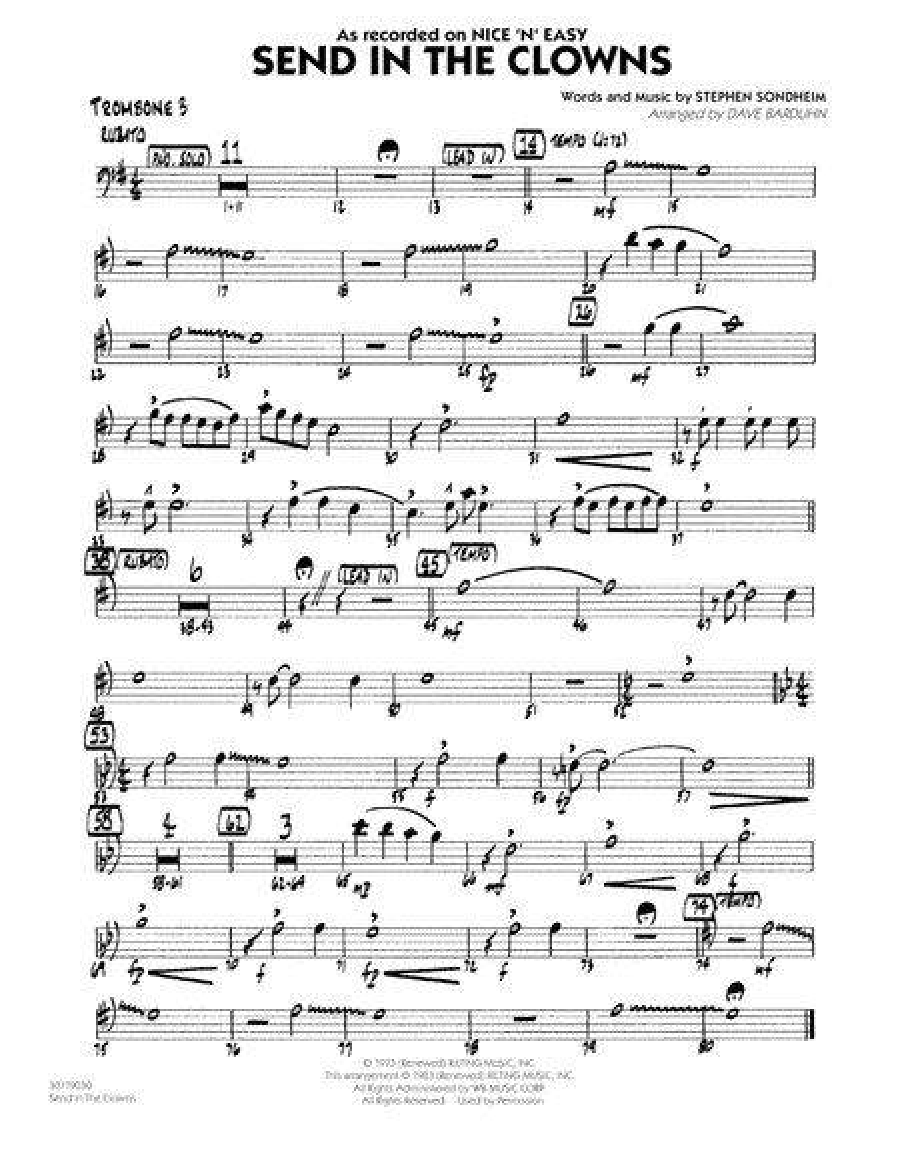 Send In The Clowns - Trombone 3