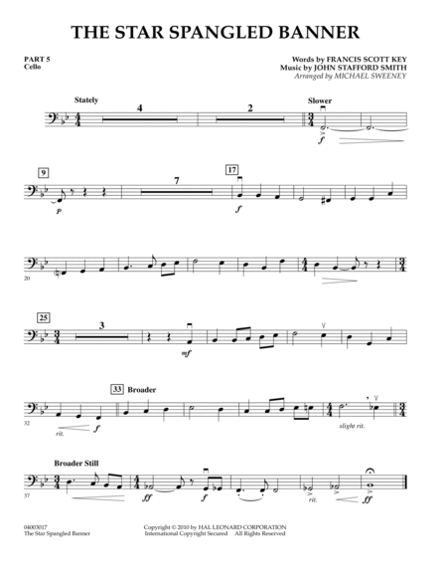 The Star Spangled Banner - Pt.5 - Cello