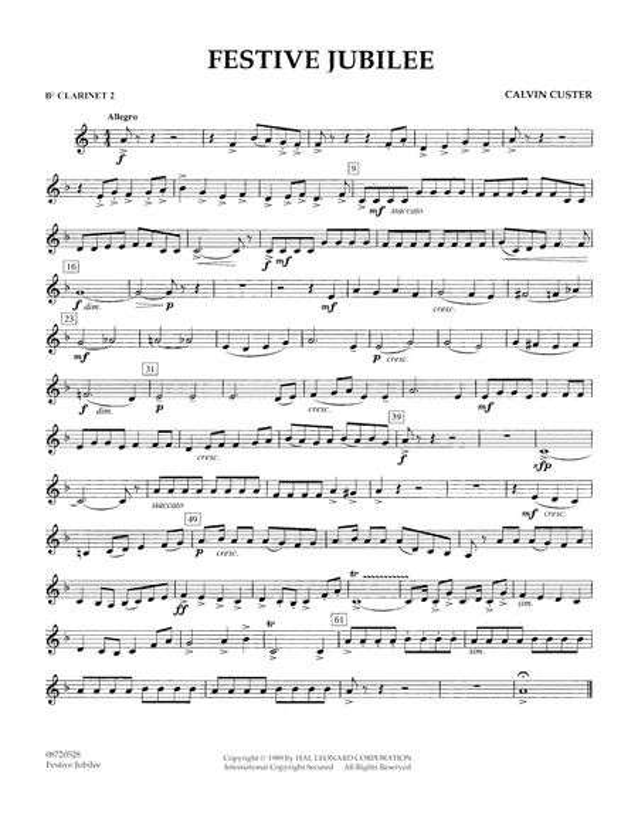 Festive Jubilee - Bb Clarinet 2