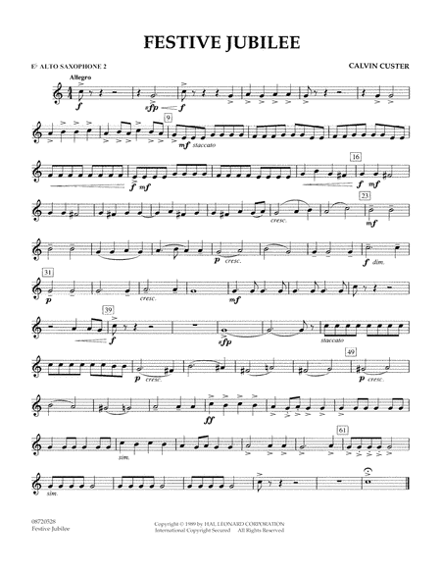 Festive Jubilee - Eb Alto Saxophone 2