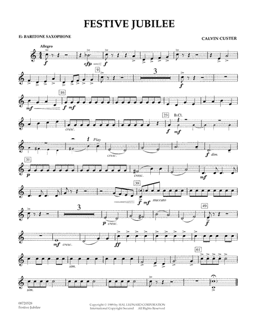 Festive Jubilee - Eb Baritone Saxophone