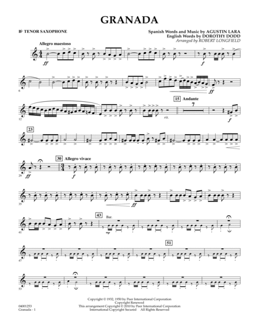 Granada - Bb Tenor Saxophone