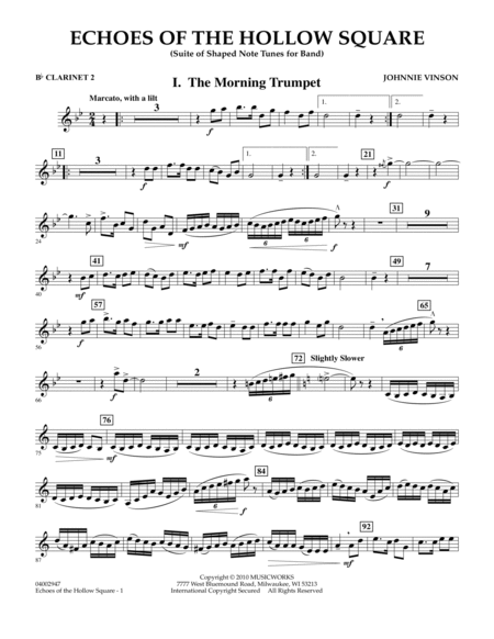 Echoes Of The Hollow Square - Bb Clarinet 2