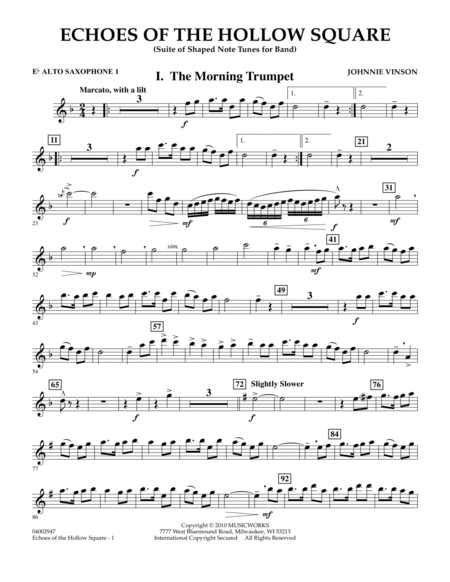 Echoes Of The Hollow Square - Eb Alto Saxophone 1