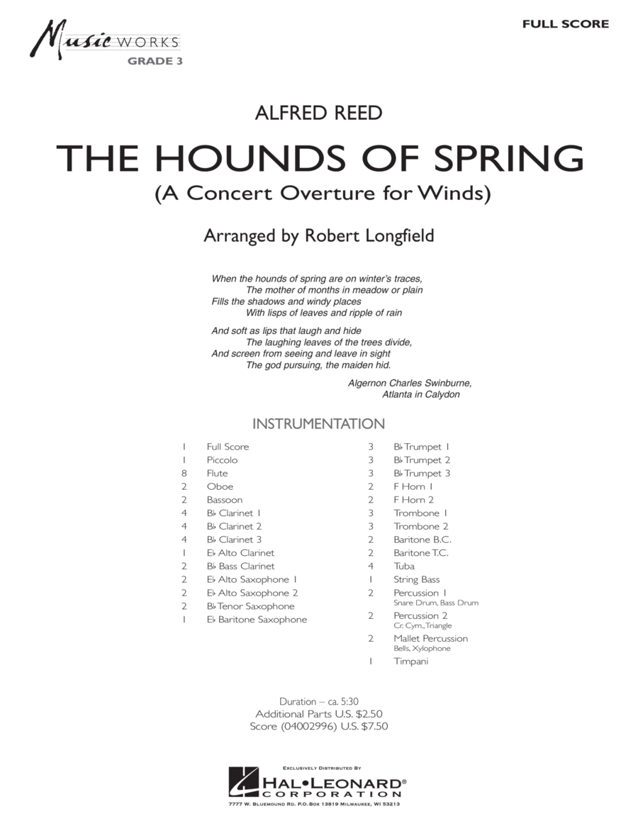 The Hounds Of Spring - Full Score