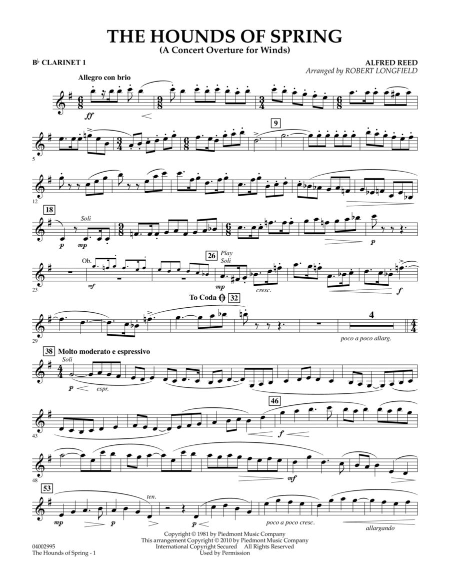 The Hounds Of Spring - Bb Clarinet 1