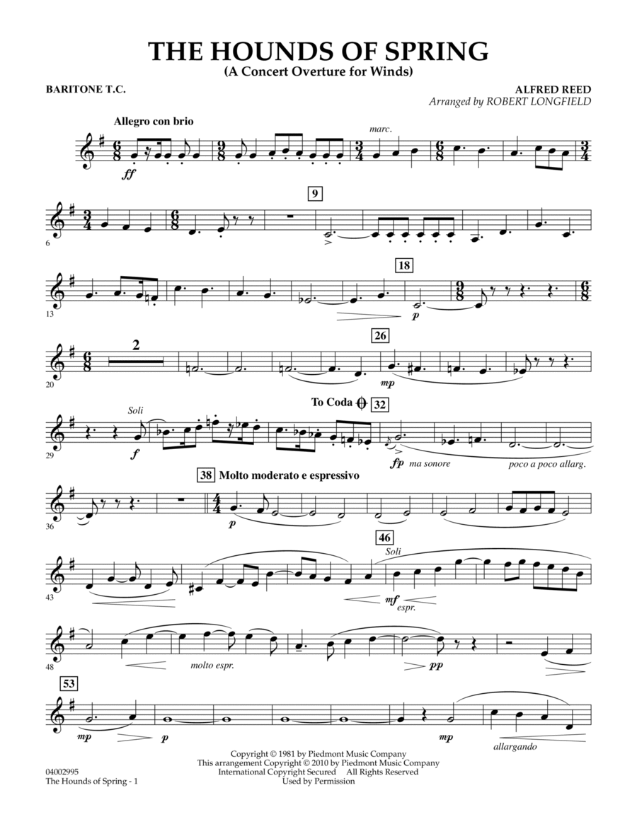 The Hounds Of Spring - Baritone T.C.