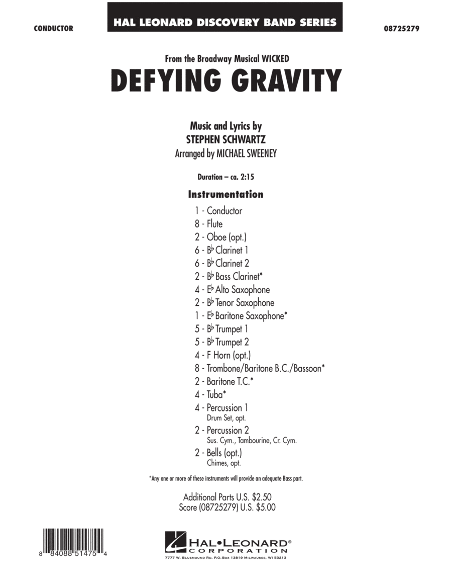 Defying Gravity (from Wicked) - Conductor Score (Full Score)