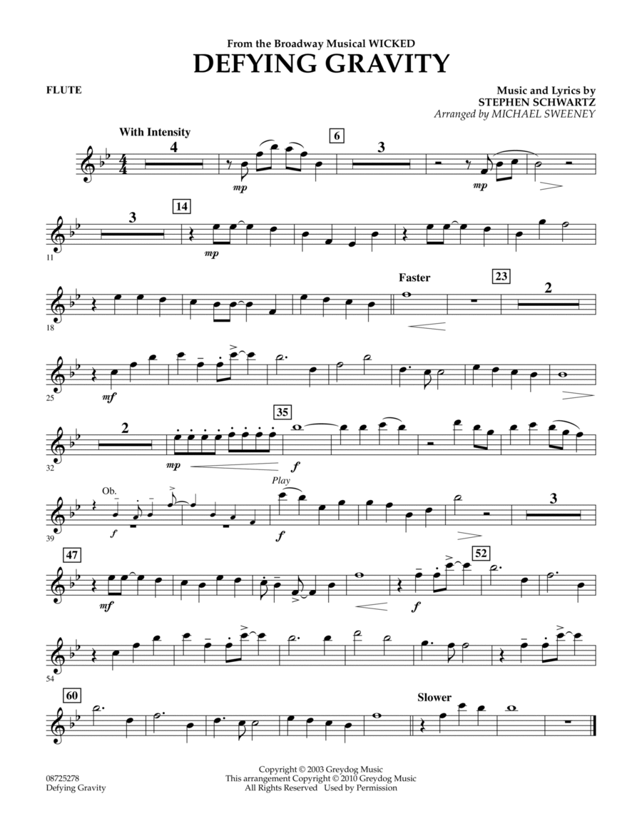 Download Defying Gravity (from Wicked) - Flute Sheet Music ...