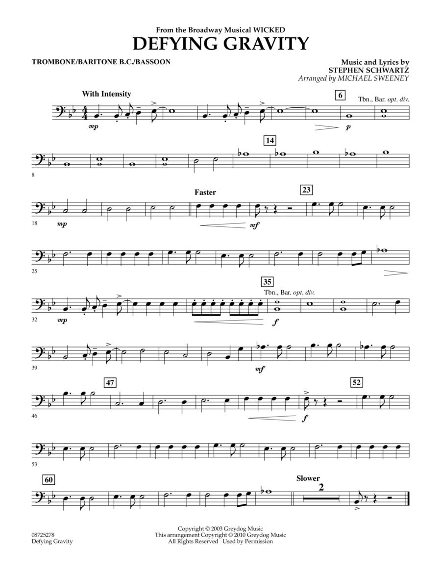 Defying Gravity (from Wicked) - Trombone/Baritone B.C./Bassoon