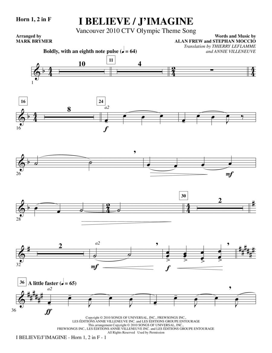 I Believe / J'Imagine - F Horn 1,2