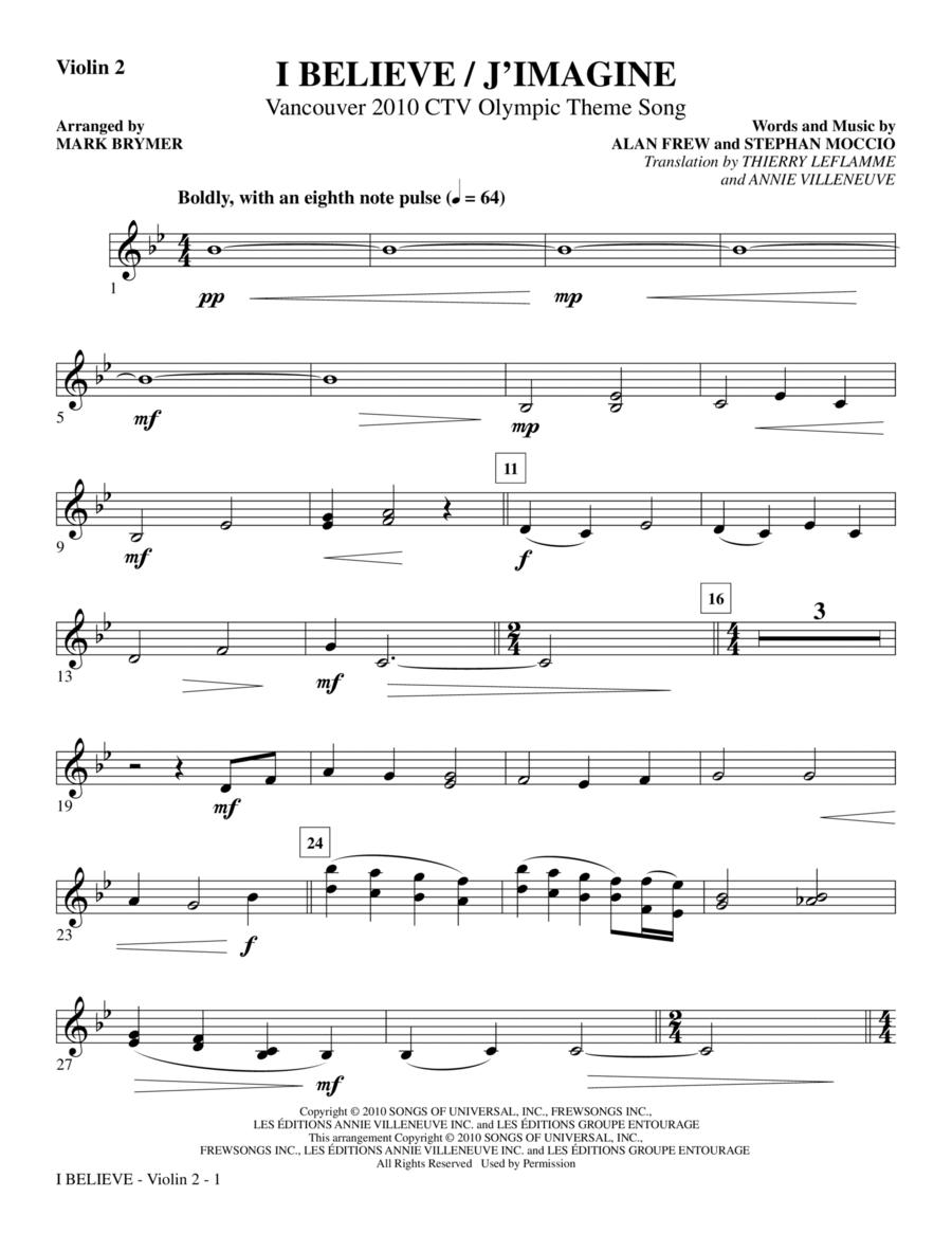 I Believe / J'Imagine - Violin 2