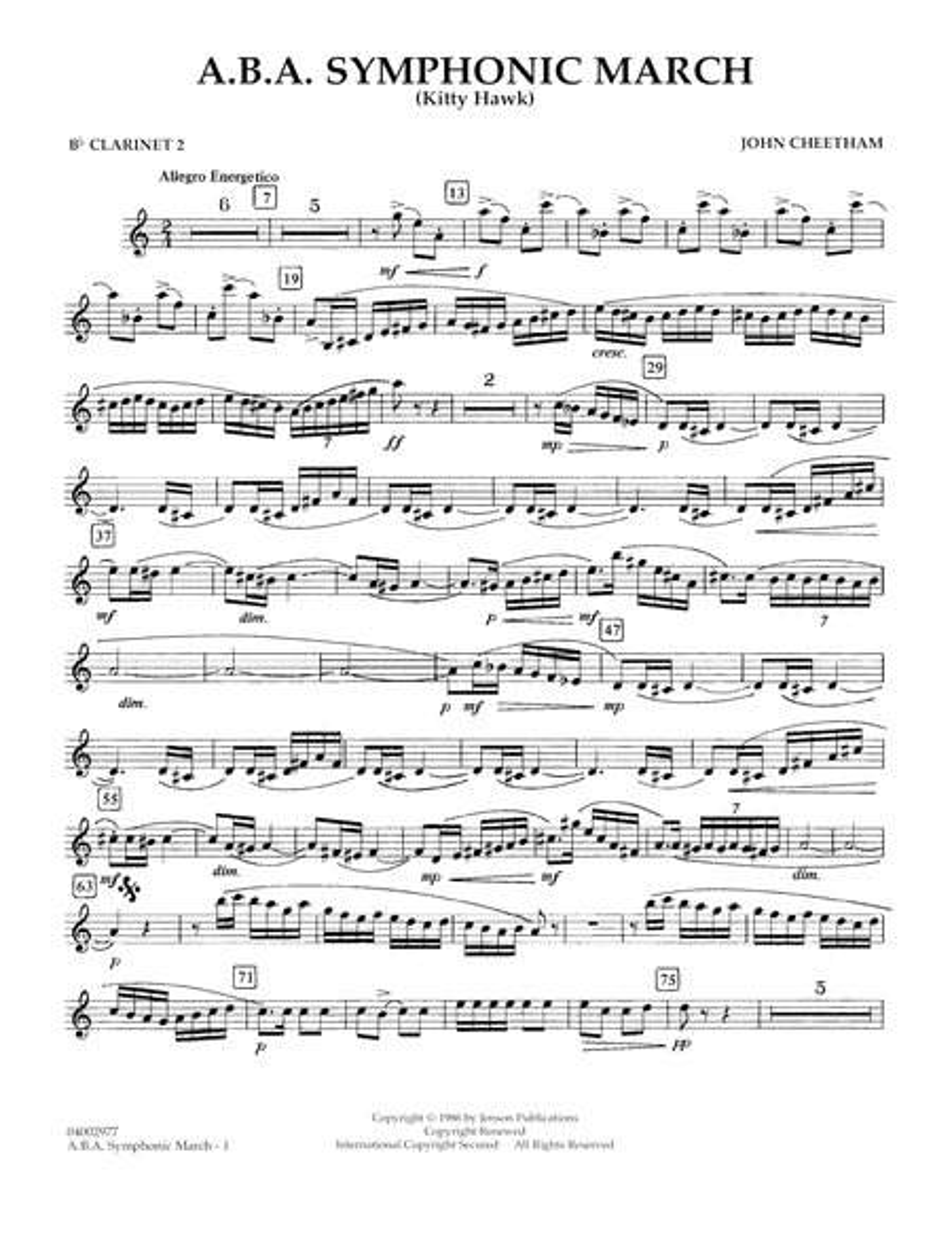 A.B.A. Symphonic March (Kitty Hawk) - Bb Clarinet 2