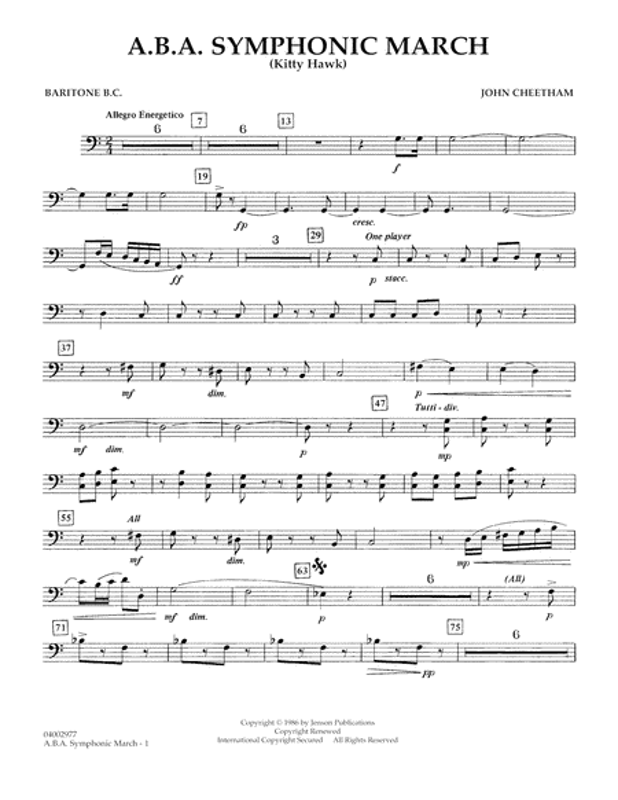 A.B.A. Symphonic March (Kitty Hawk) - Baritone B.C.