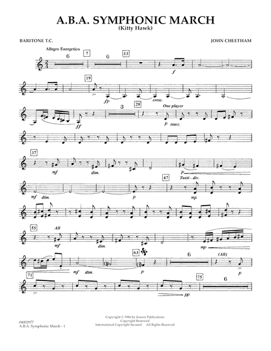A.B.A. Symphonic March (Kitty Hawk) - Baritone T.C.