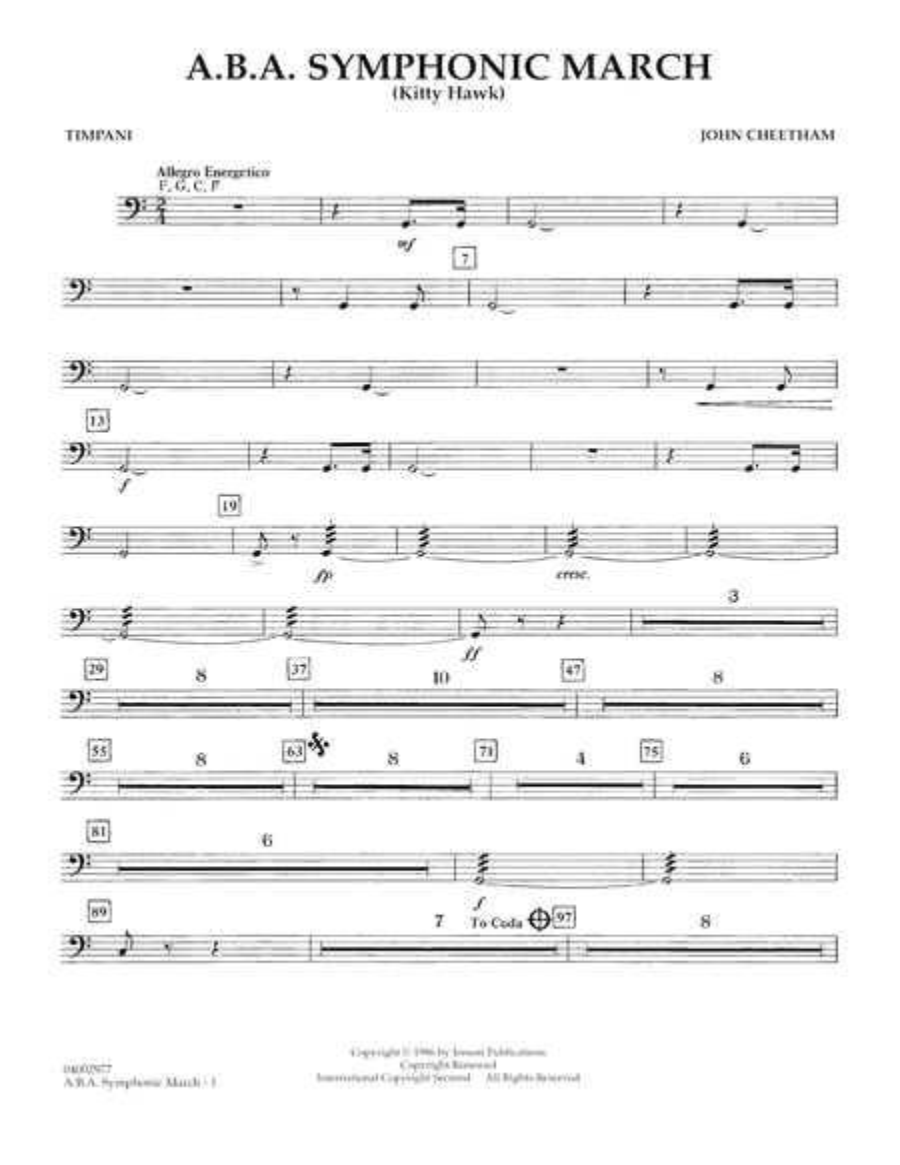A.B.A. Symphonic March (Kitty Hawk) - Timpani