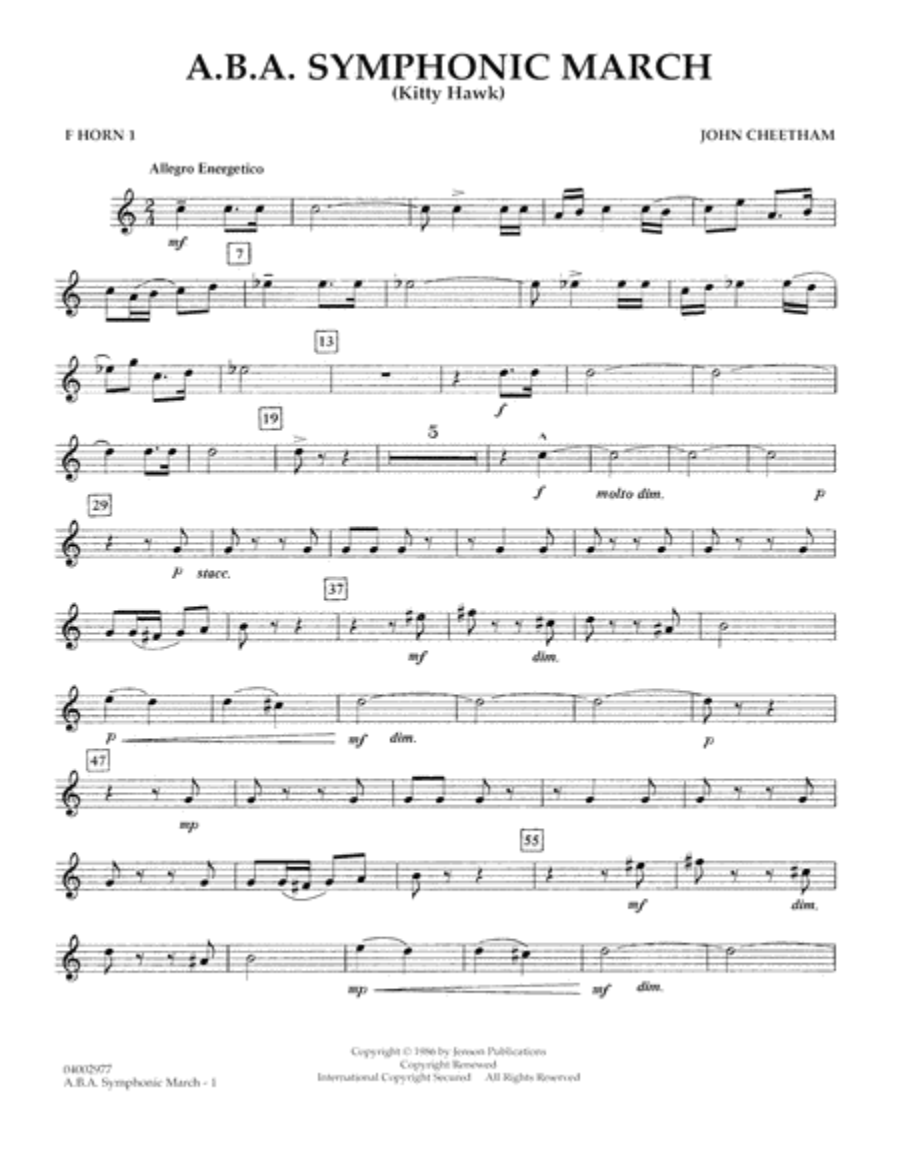 A.B.A. Symphonic March (Kitty Hawk) - F Horn 1