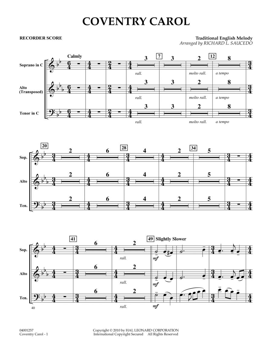 Coventry Carol - Recorder Score