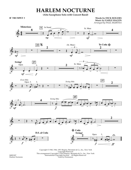 Harlem Nocturne (Alto Sax Solo with Band) - Bb Trumpet 3
