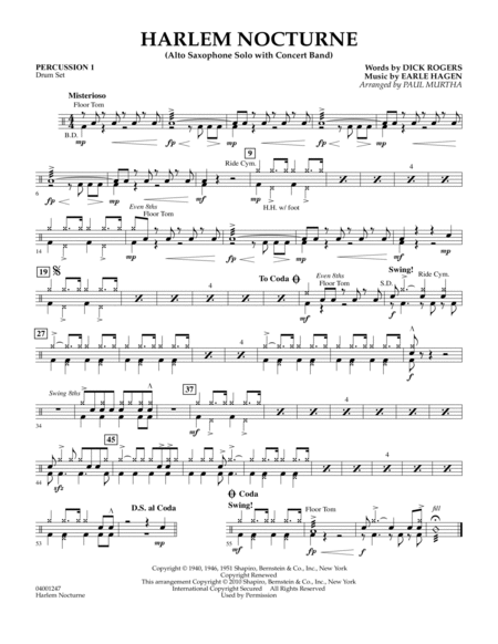 Harlem Nocturne (Alto Sax Solo with Band) - Percussion 1