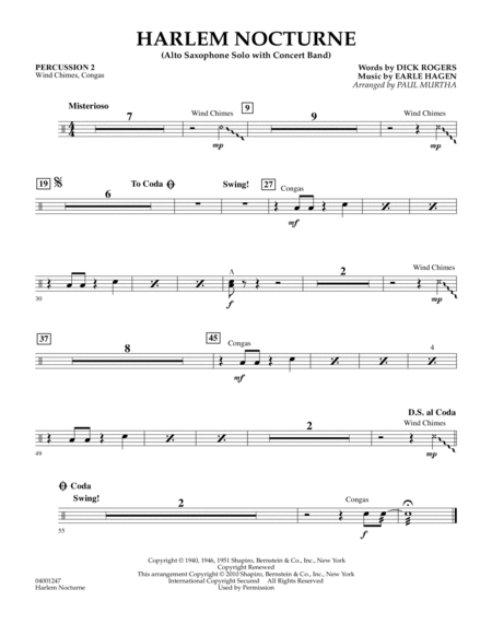 Harlem Nocturne (Alto Sax Solo with Band) - Percussion 2