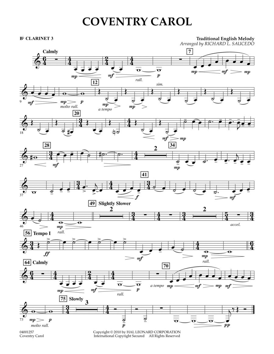 Coventry Carol - Bb Clarinet 3
