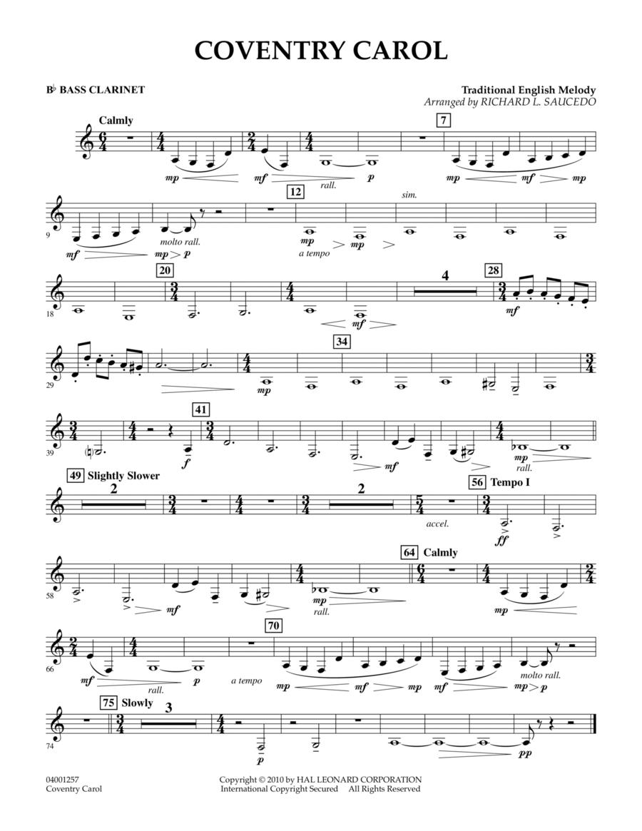 Coventry Carol - Bb Bass Clarinet