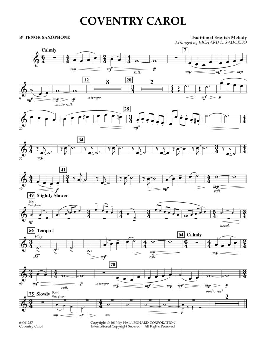 Coventry Carol - Bb Tenor Saxophone