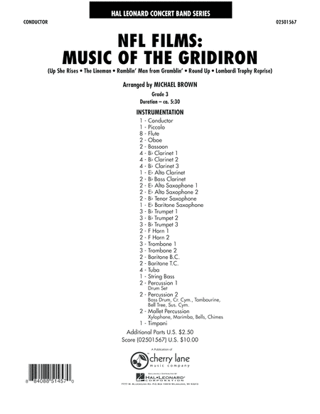 NFL Films: Music Of The Gridiron - Conductor Score (Full Score)